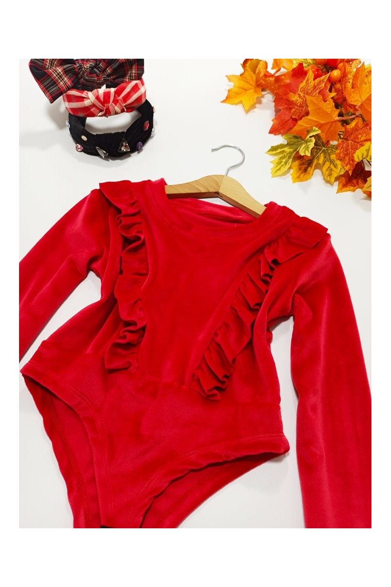 Body dla dziewczynki welurowe  jesień zima odzież dziecięca sówka
