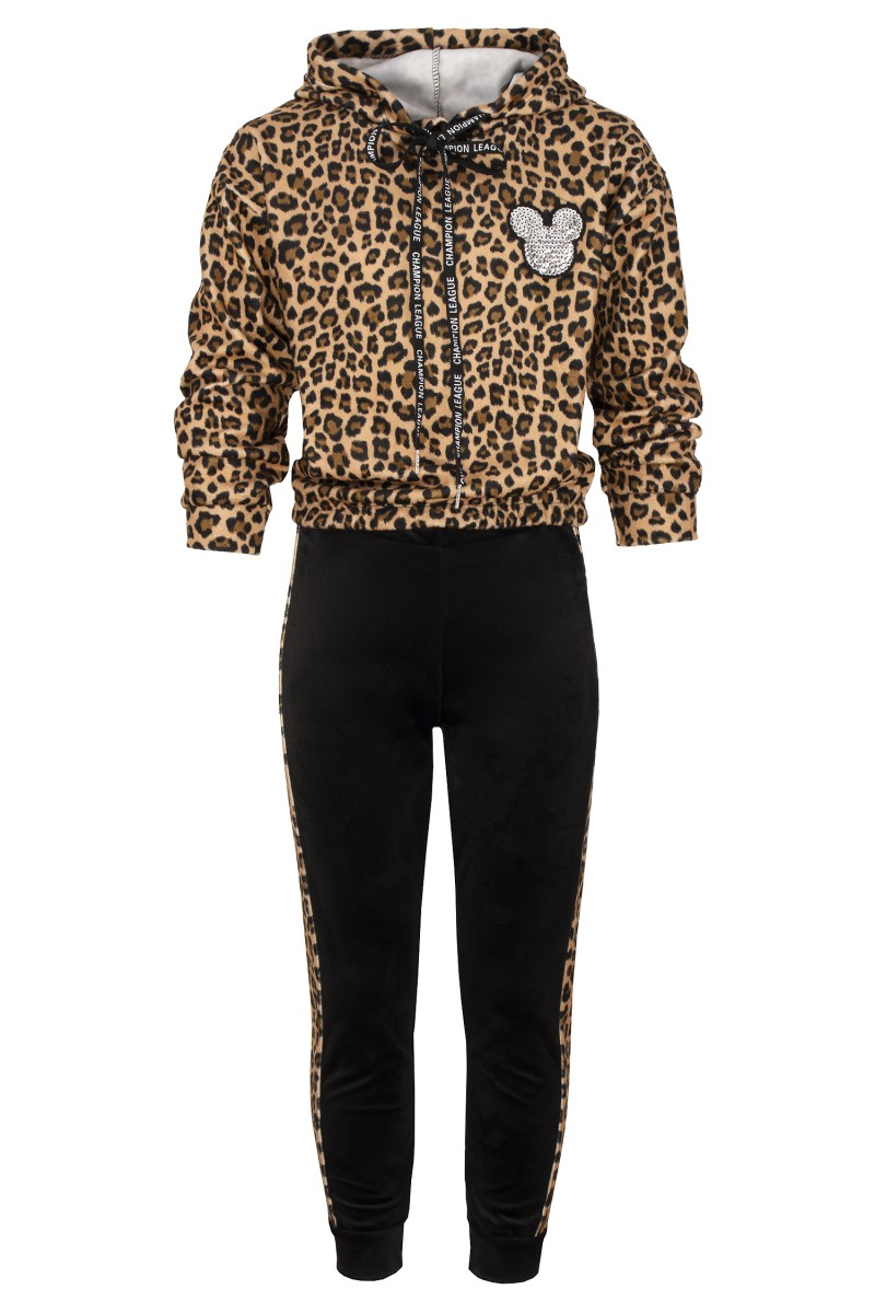 komplet bluza spodnie welur panterka sówka odzież dziecięca jesień zima