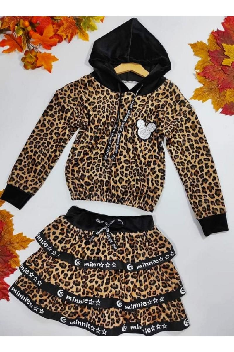Komplet welurowy dla dziewczynki bluza z kapturem i spódniczka jesień zima