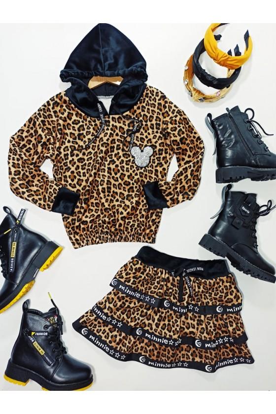 Komplet dla dziewczynki panterka welurowy Simba bluza i spódniczka