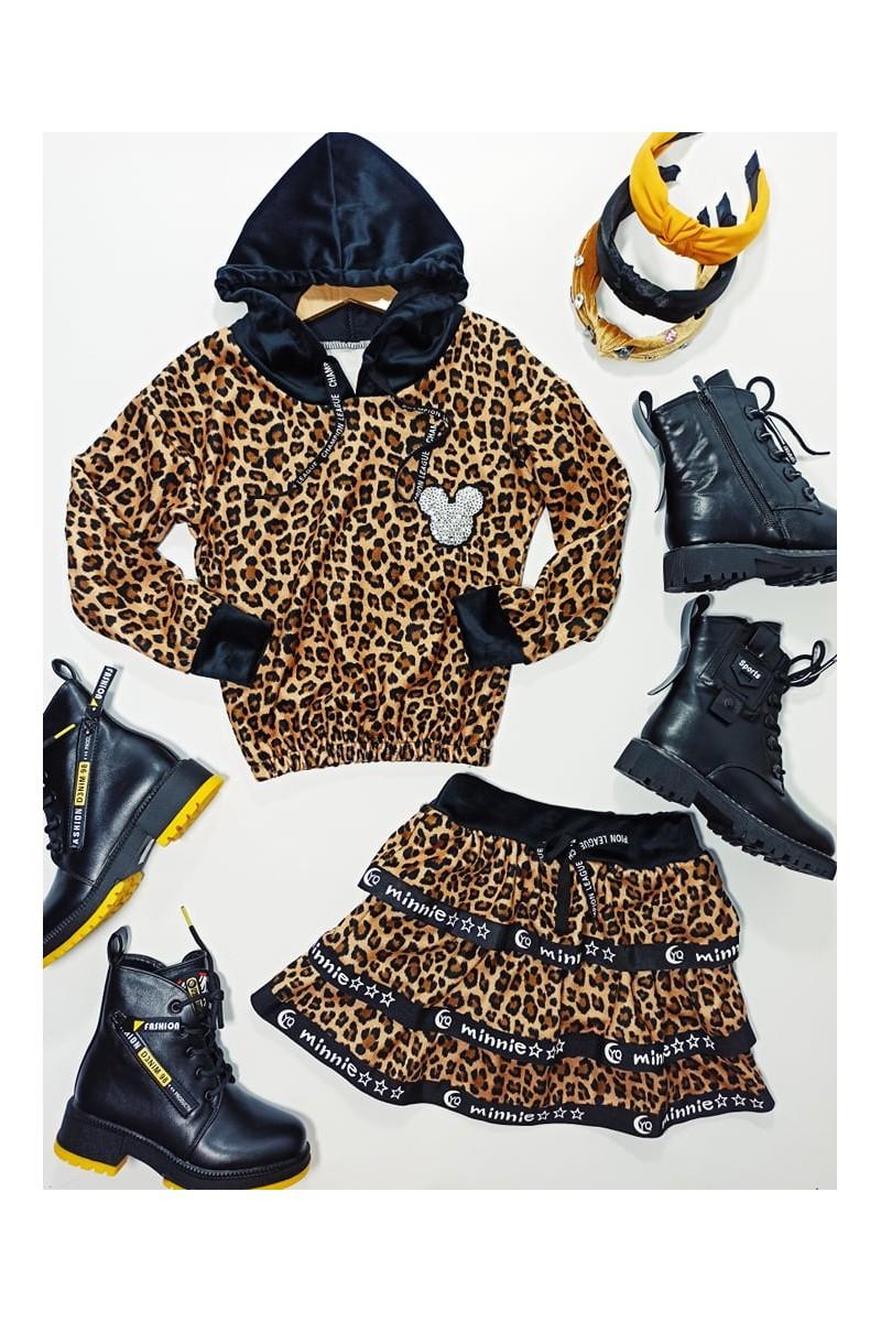 komplet bluza i spódnica welur panterka sówka odzież dziecięca jesień zima