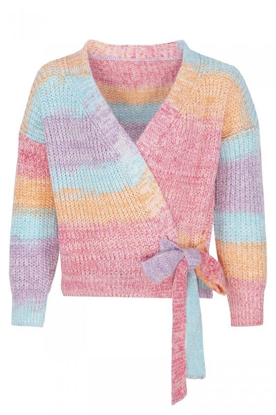 Sweter kardigan dla dziewczynki multikolor