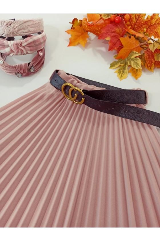 Spódniczka plisowana midi z paskiem puderek Katia puderek