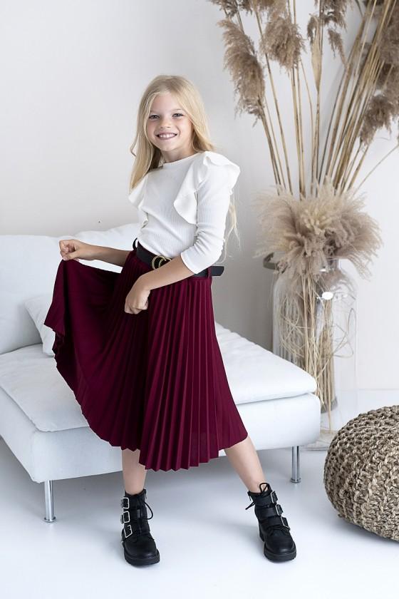 Spódnica dla dziewczynki midi plisowana Katia z paskiem bordowa