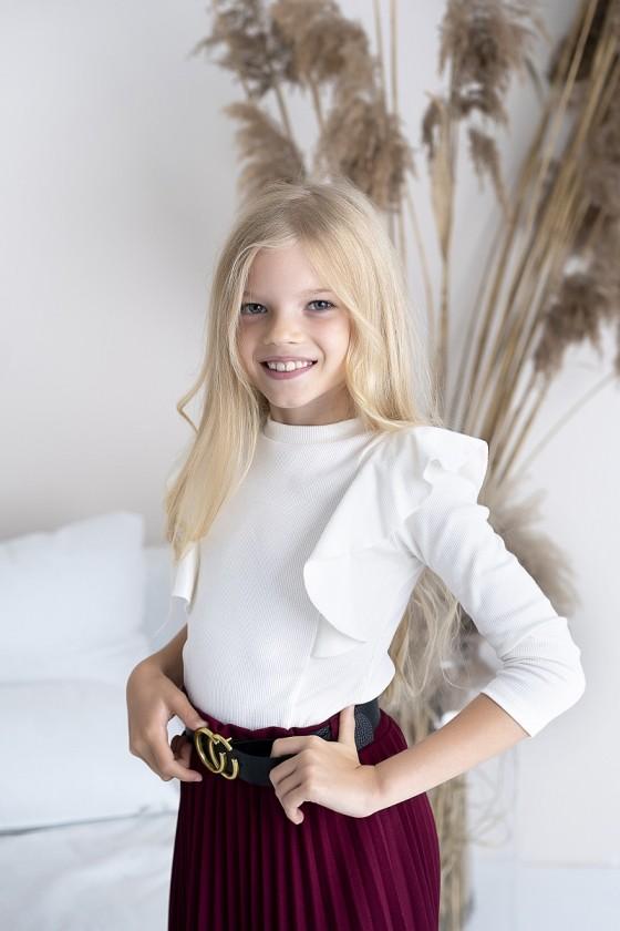 Bluzka bawełna prążek dla dziewczynki Oli śmietanka