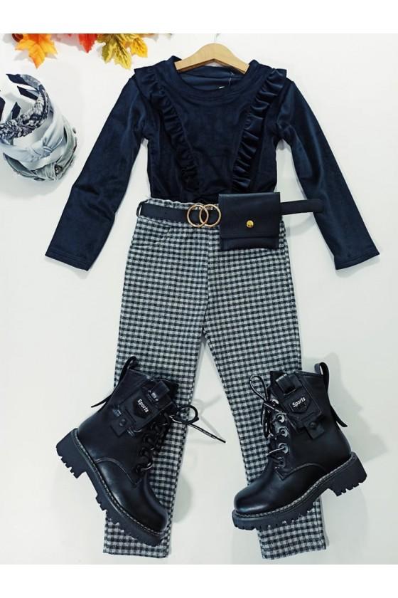 Spodnie pepitka dla dziewczynki Tośka szare