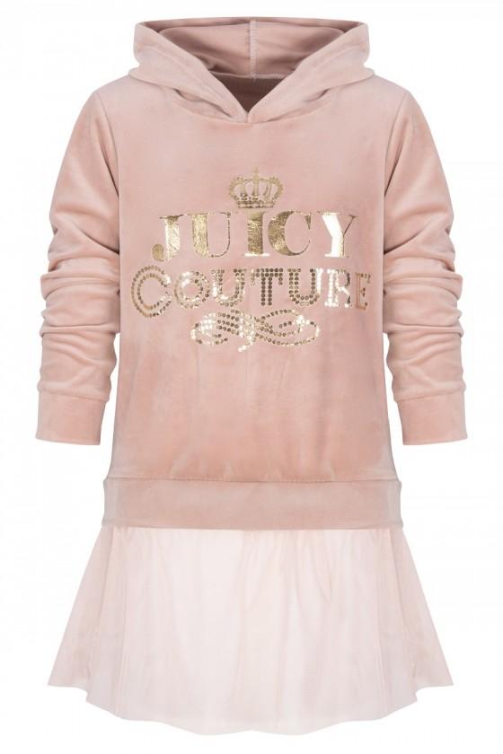 Sukienka tunika dla dziewczynki welurowa puderek