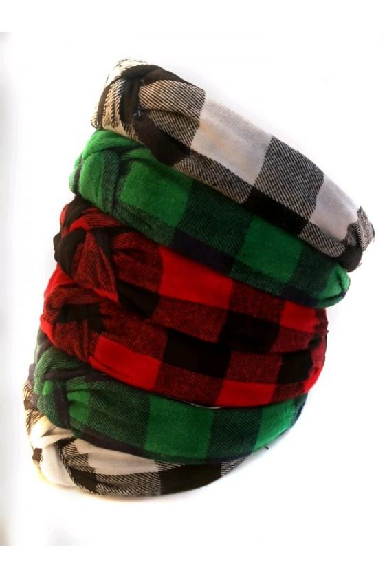 Opaska dla dziewczynki turban w kratę flanela