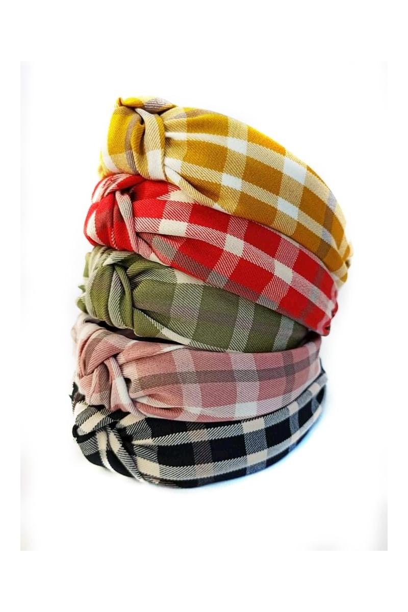 opaska dla dziewczynki turban satyna krata sówka odzież dziecięca ozdoby do włosów