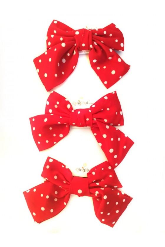 Kokarda spinka XXL czerwona w kropki dla dziewczynki