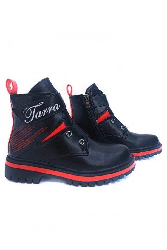 Botki dla dziewczynki czarno czerwone Tarra