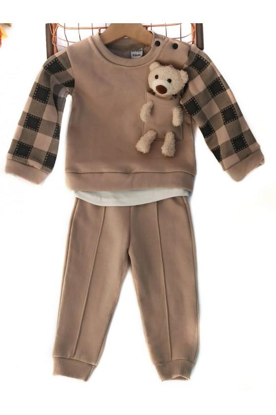 komplet bluza spodnie bawełna miś niemowlę sówka odzież dziecięca jesień zima