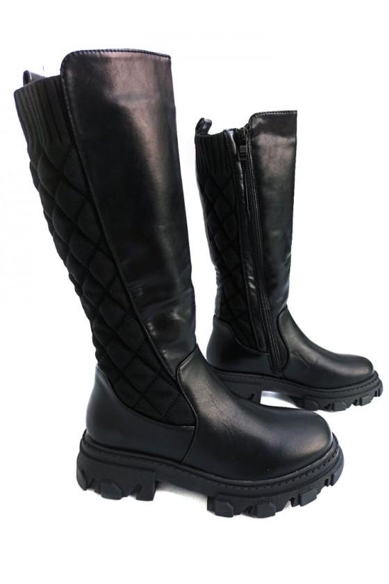 kozaki długie dla dziewczynki zima jesień czarne odzież dziecięca sówka
