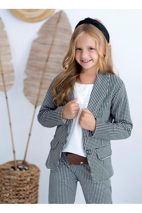 Komplet dla dziewczynki żakiet i spodnie w kratke z saszetką witaj szkoło sówka odzież dziecięca