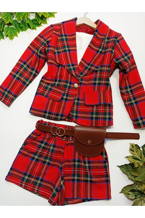 Komplet dla dziewczynki żakiet marynarka i spodenki szoorty w czerwoną kratkę  jesień w Sówka odzież dziecięca