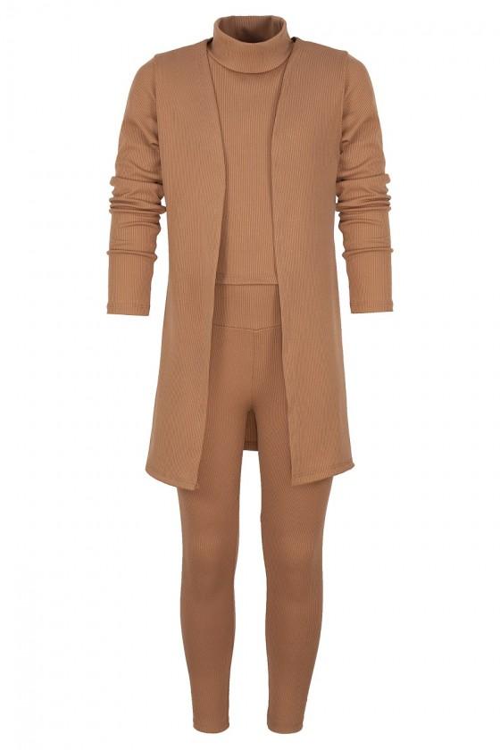 komplet półgolf bluzka leginsy narzuta odzież dziecięca sówka