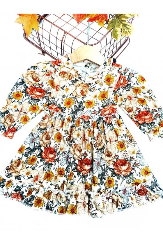 Sukienka dla dziewczynki niemowlę bawełniana  odzież dziecięca sówka