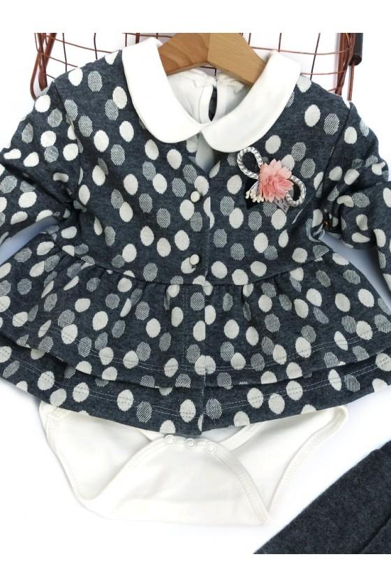 Komplet niemowlęcy dla dziewczynki broszka groszki