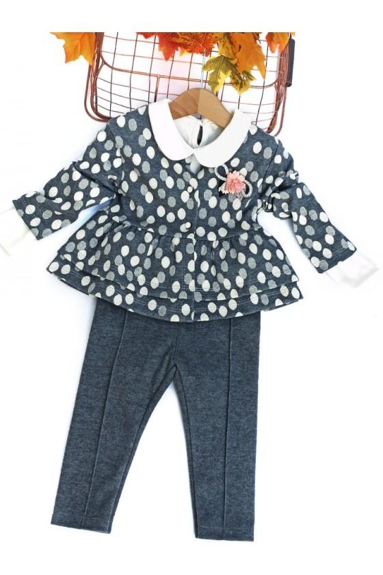 komplet sweterek broszka body spodnie niemowlę sówka odzież dziecięca jesień zima