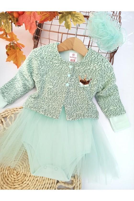 Komplet  dla dziewczynki niemowlę bawełniana  body bolerko opaska odzież dziecięca sówka