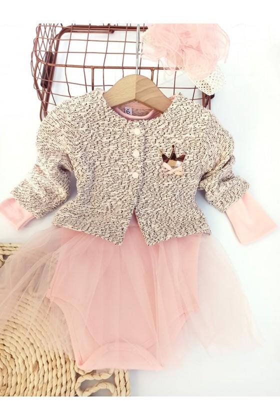 Komplet  dla dziewczynki niemowlę bawełniany  body bolerko opaska odzież dziecięca sówka