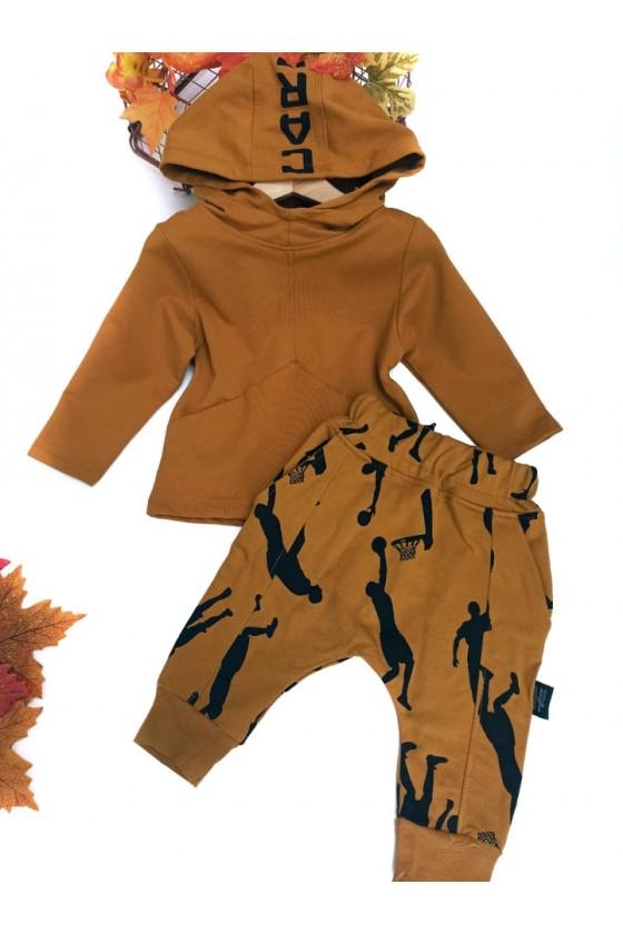 komplet bluza  z kapturem spodnie baggy  niemowlę sówka odzież dziecięca jesień zima