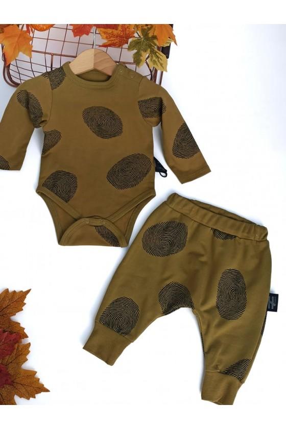 komplet body spodnie baggy  niemowlę sówka odzież dziecięca jesień zima