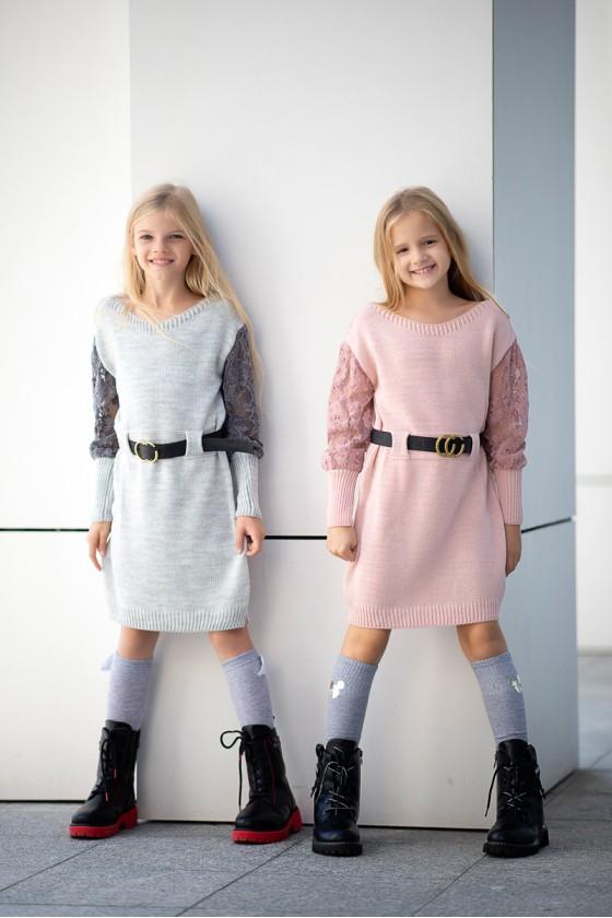 Sukienka dzianinowa dla dziewczynki Igi szara