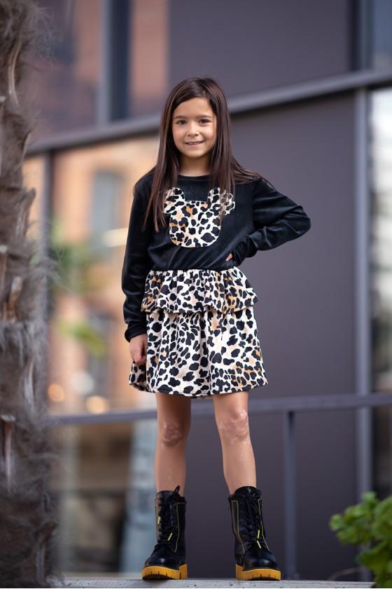 Sukienka Tina panterka bawełna &  welur black