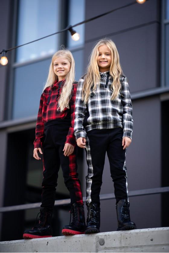 Komplet dla dziewczynki Liliana bluza i spodnie krata czarno czerwony