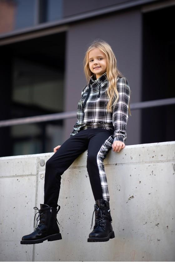 Komplet dla dziewczynki Liliana bluza i spodnie krata czarno biały
