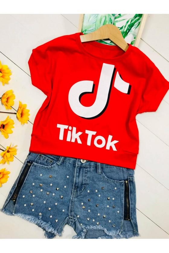Bluzka Tik tok cropp  red