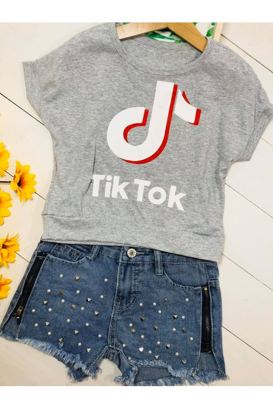 Blouse Tik tok cropp grey