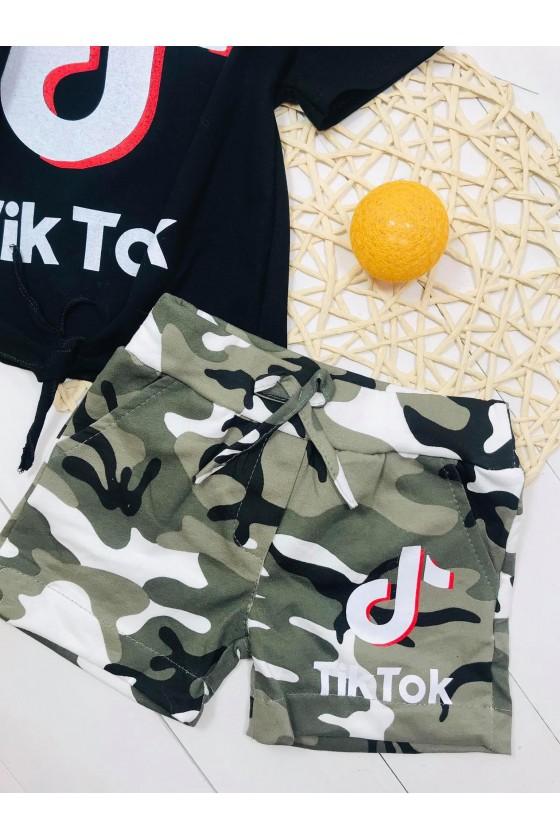 Set tik tok cotton camo black/khaki
