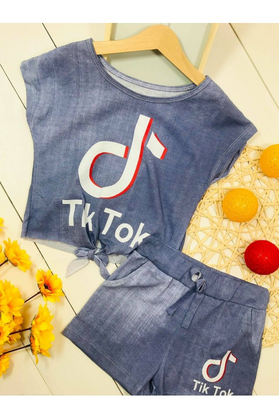 Set Tik Tok blouse&shorts denim color
